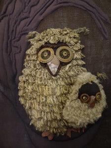 Handmade Owl Silk Wool 1970's