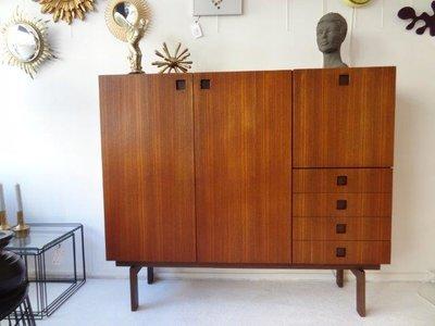 teak/wenge cabinet, Hulmefa, japan style, Dutch design 1955